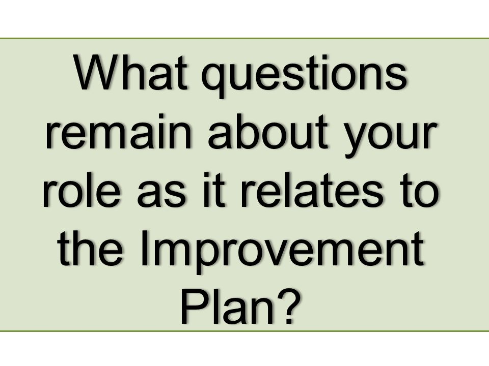 What questions remain about your role as it relates to the Improvement Plan