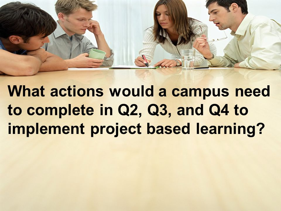 What actions would a campus need to complete in Q2, Q3, and Q4 to implement project based learning