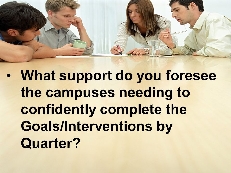 What support do you foresee the campuses needing to confidently complete the Goals/Interventions by Quarter