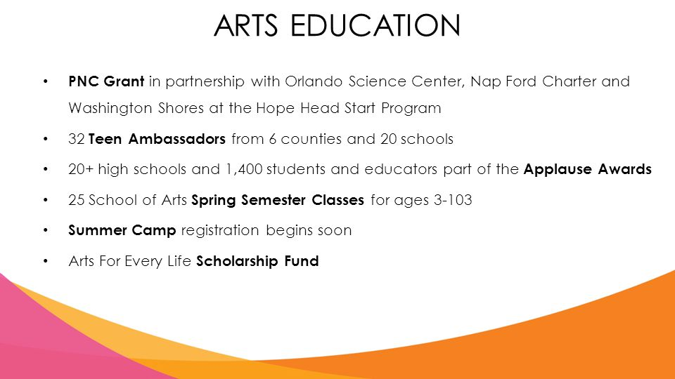 ARTS EDUCATION PNC Grant in partnership with Orlando Science Center, Nap Ford Charter and Washington Shores at the Hope Head Start Program 32 Teen Ambassadors from 6 counties and 20 schools 20+ high schools and 1,400 students and educators part of the Applause Awards 25 School of Arts Spring Semester Classes for ages 3-103 Summer Camp registration begins soon Arts For Every Life Scholarship Fund