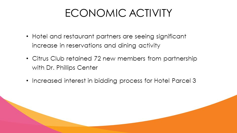 ECONOMIC ACTIVITY Hotel and restaurant partners are seeing significant increase in reservations and dining activity Citrus Club retained 72 new members from partnership with Dr.