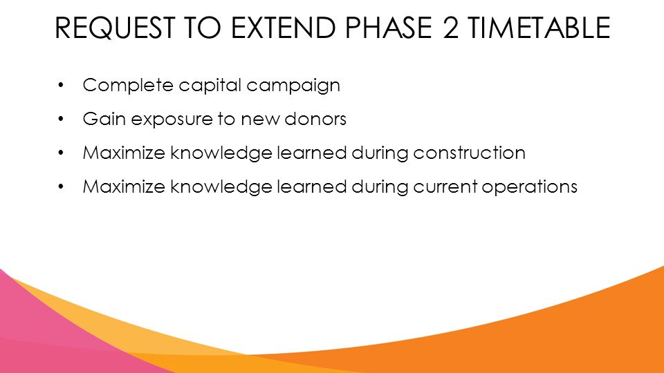 REQUEST TO EXTEND PHASE 2 TIMETABLE Complete capital campaign Gain exposure to new donors Maximize knowledge learned during construction Maximize knowledge learned during current operations