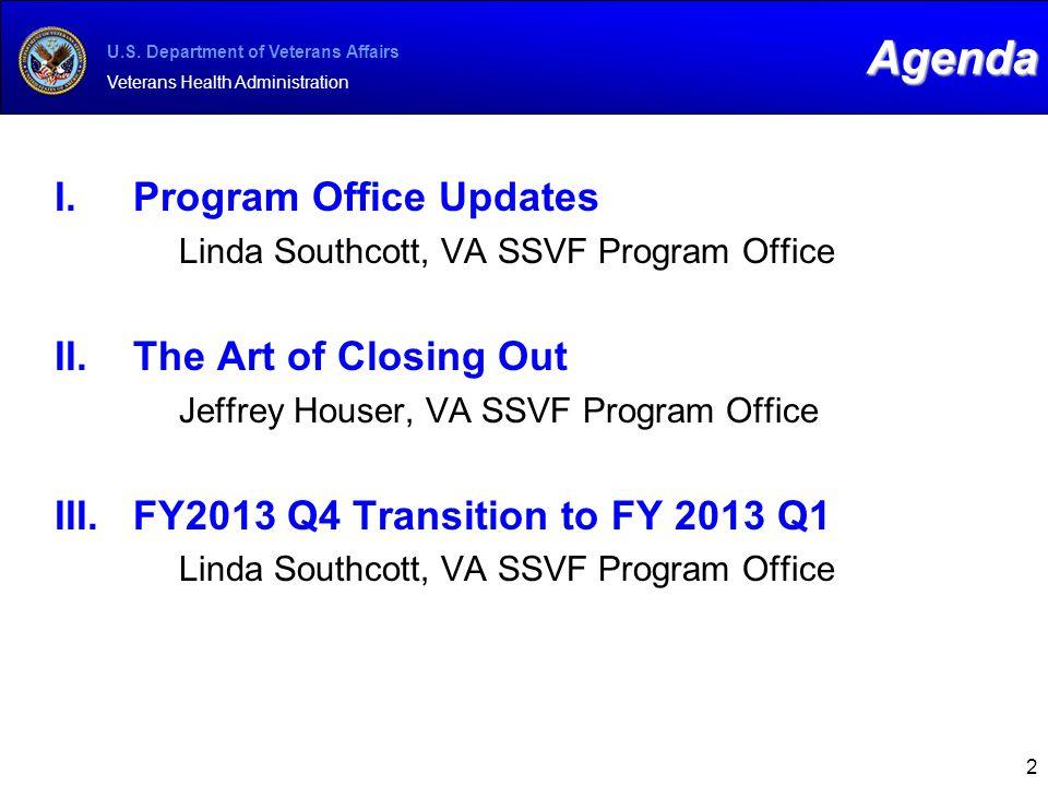 U.S. Department of Veterans Affairs Veterans Health Administration 2 I.Program Office Updates Linda Southcott, VA SSVF Program Office II.The Art of Cl