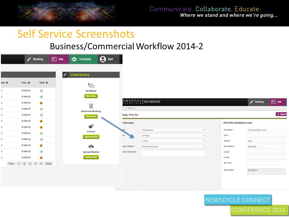 Self Service Screenshots Business/Commercial Workflow 2014-2