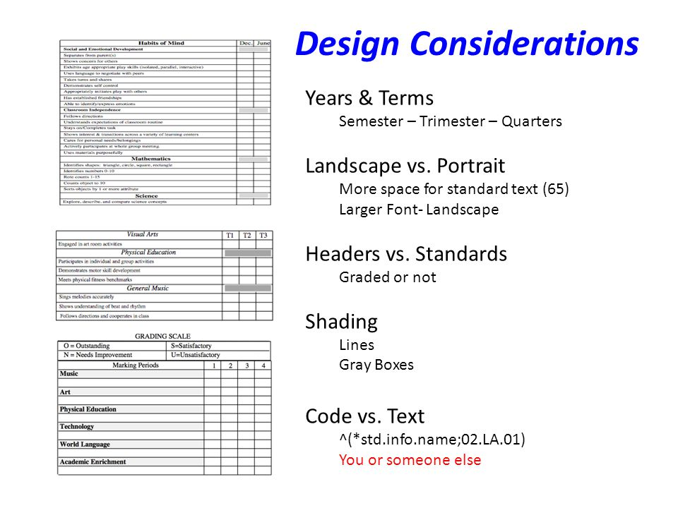 Design Considerations Years & Terms Semester – Trimester – Quarters Landscape vs.