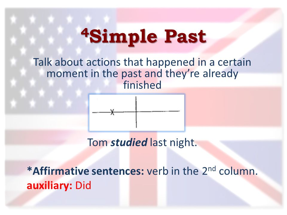 4 Simple Past Talk about actions that happened in a certain moment in the past and they're already finished Tom studied last night.