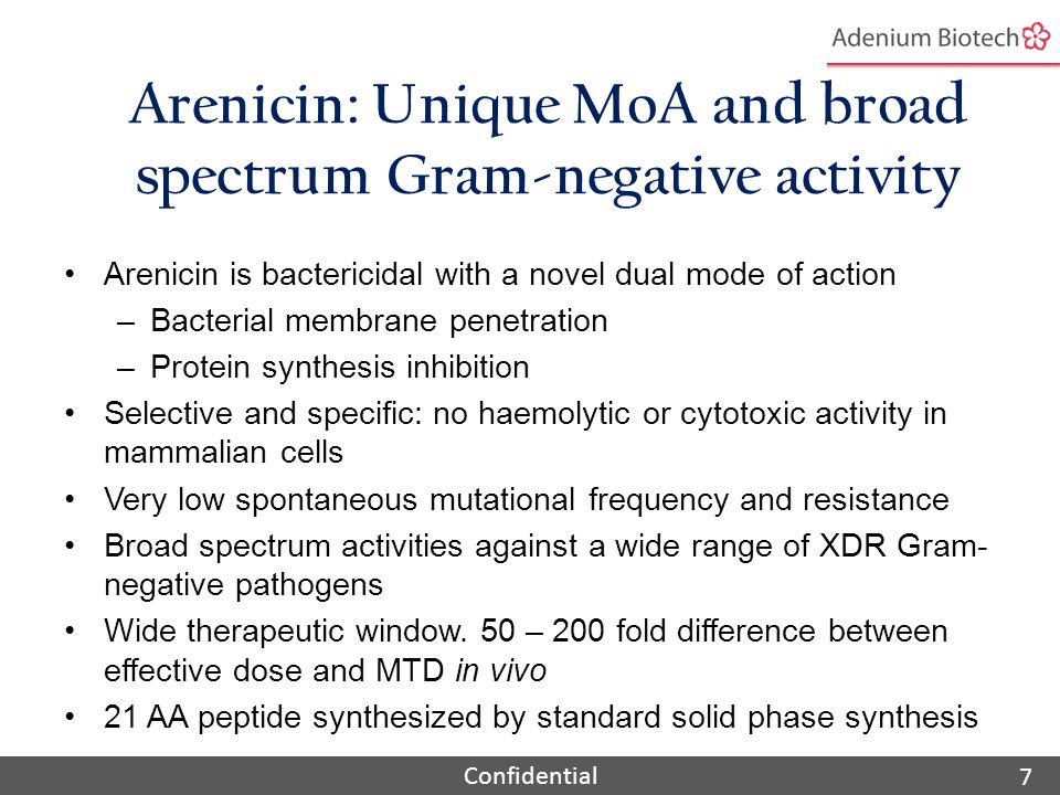 Confidential Arenicin: Unique MoA and broad spectrum Gram-negative activity Arenicin is bactericidal with a novel dual mode of action –Bacterial membrane penetration –Protein synthesis inhibition Selective and specific: no haemolytic or cytotoxic activity in mammalian cells Very low spontaneous mutational frequency and resistance Broad spectrum activities against a wide range of XDR Gram- negative pathogens Wide therapeutic window.