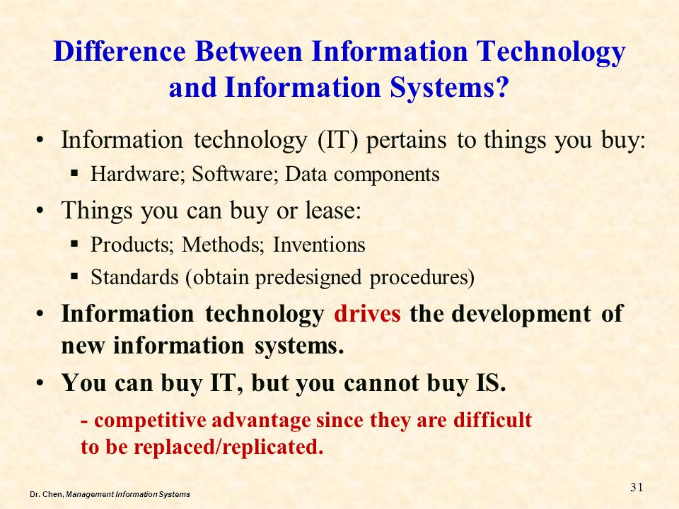 Dr. Chen, Management Information Systems Information technology (IT) pertains to things you buy:  Hardware; Software; Data components Things you can