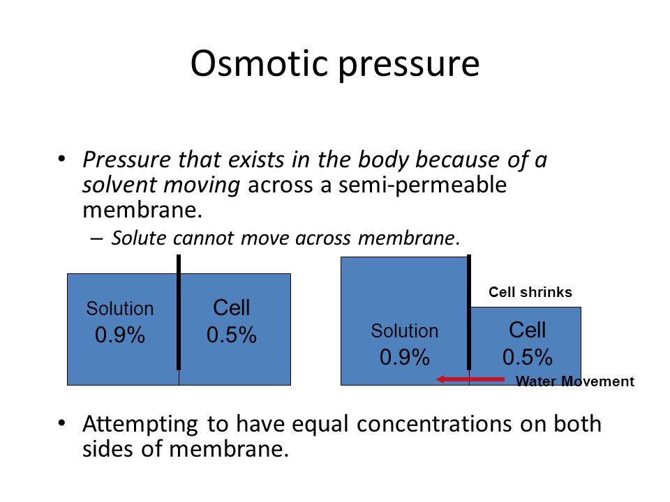 Osmotic pressure Pressure that exists in the body because of a solvent moving across a semi-permeable membrane. – Solute cannot move across membrane.