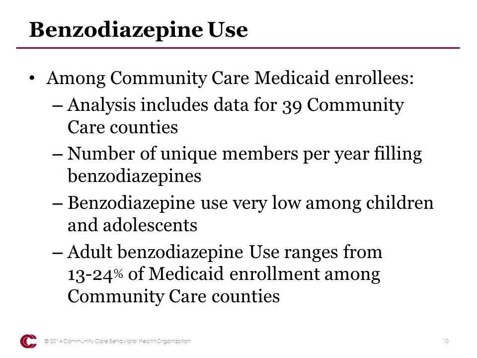 Opiate Use Among Community Care Medicaid enrollees: – Analysis includes data for 39 Community Care counties – Number of unique members per year filling four or more opiate scripts – Opiate use very low among children and adolescents – Adult opiate use ranges from 11-21 % of Medicaid enrollment among Community Care counties 11© 2014 Community Care Behavioral Health Organization