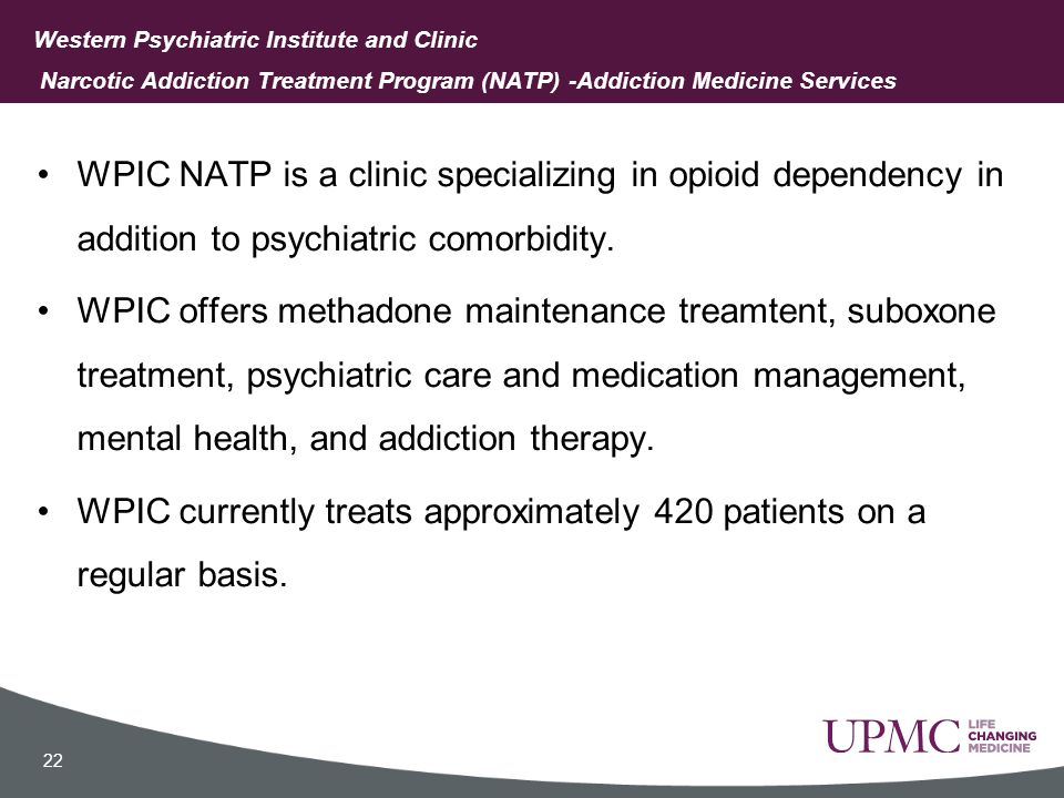 Rationale NATP recognized a need to address the misuse and abuse of prescription benzodiazepines by patients enrolled in medication assisted treatment.