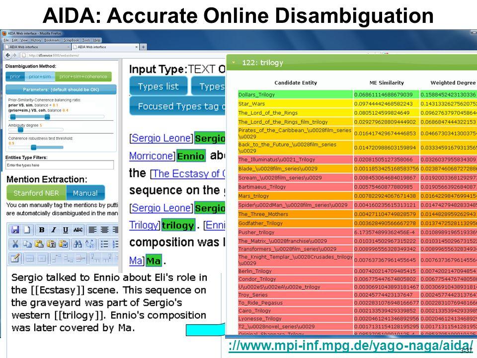 AIDA: Accurate Online Disambiguation http://www.mpi-inf.mpg.de/yago-naga/aida/ 3-37
