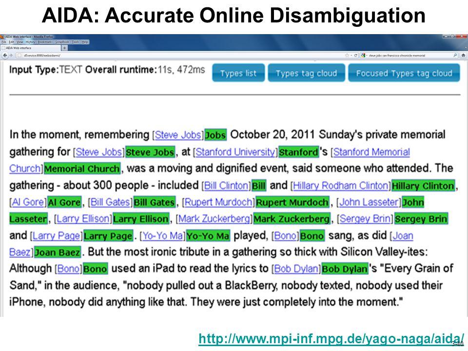 AIDA: Accurate Online Disambiguation http://www.mpi-inf.mpg.de/yago-naga/aida/ 3-40