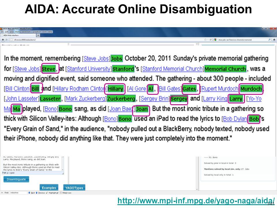 AIDA: Accurate Online Disambiguation http://www.mpi-inf.mpg.de/yago-naga/aida/ 3-41