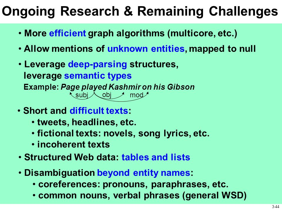Ongoing Research & Remaining Challenges More efficient graph algorithms (multicore, etc.) Short and difficult texts: tweets, headlines, etc. fictional