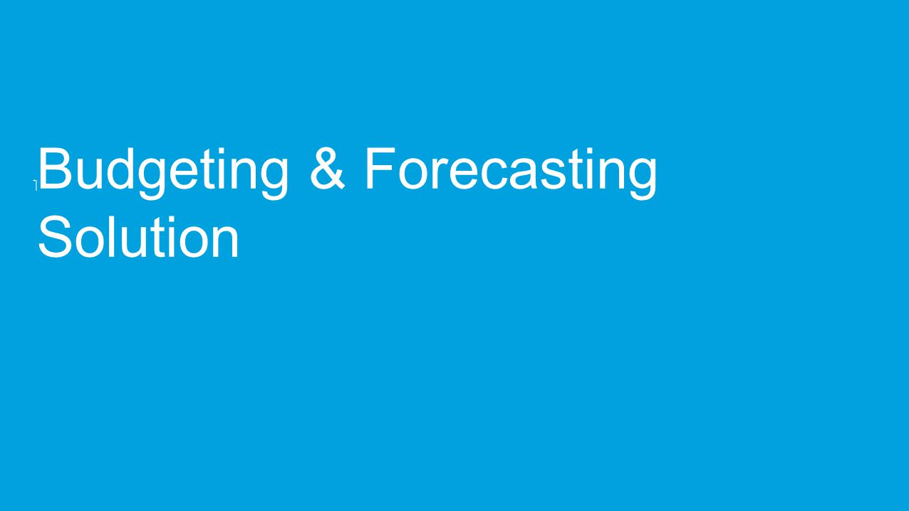‏ Budgeting & Forecasting Solution