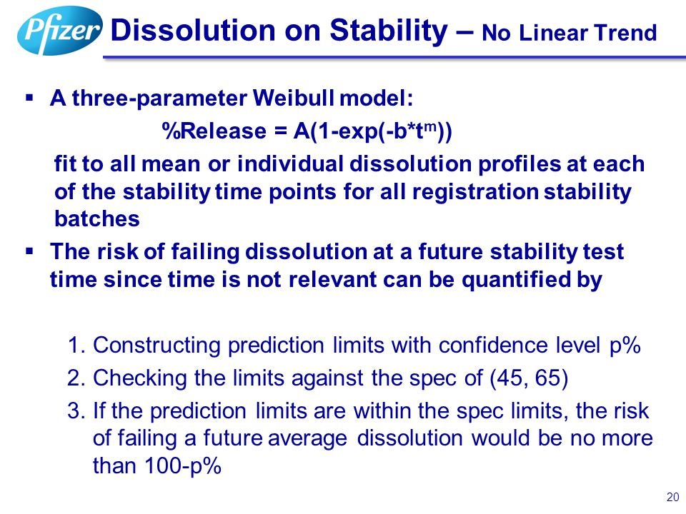 20 Dissolution on Stability – No Linear Trend 20  A three-parameter Weibull model: %Release = A(1-exp(-b*t m )) fit to all mean or individual dissolu