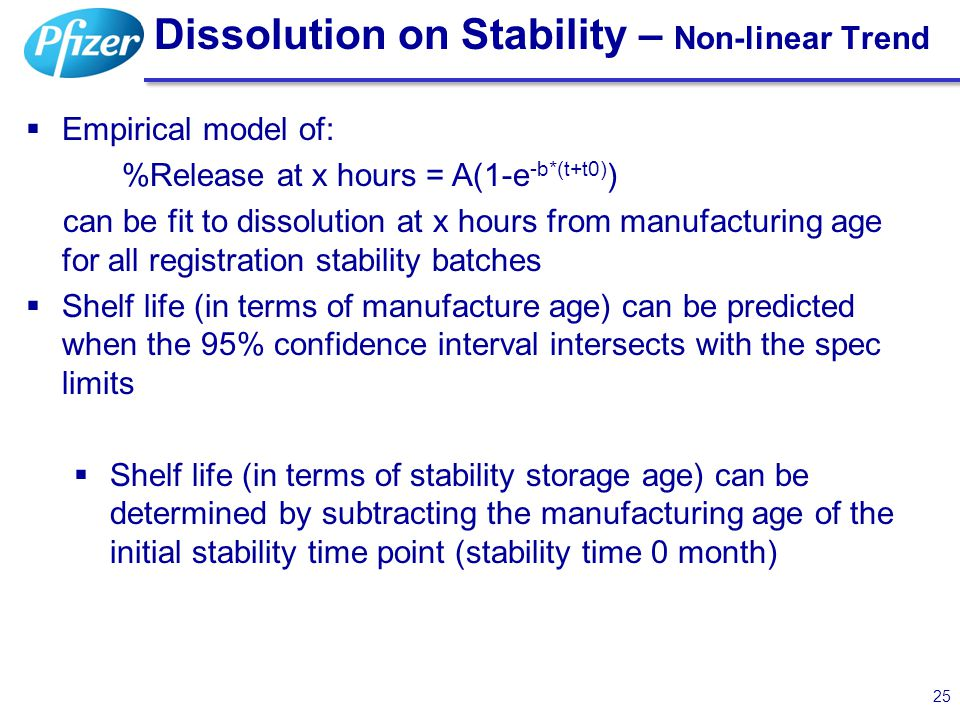 Dissolution on Stability – Non-linear Trend 25  Empirical model of: %Release at x hours = A(1-e -b*(t+t0) ) can be fit to dissolution at x hours from