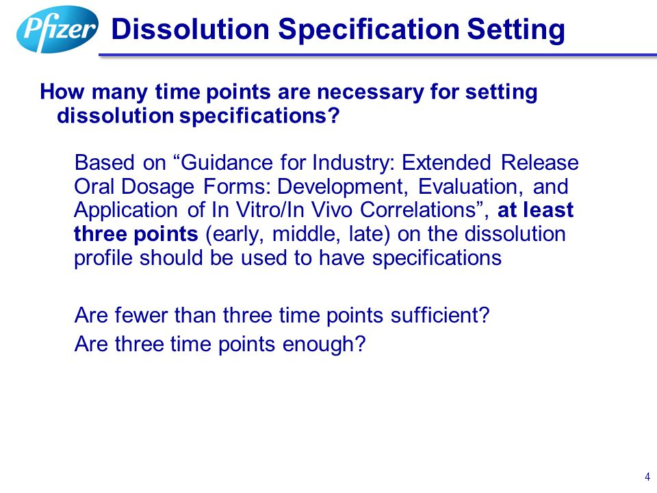 "Dissolution Specification Setting How many time points are necessary for setting dissolution specifications? Based on ""Guidance for Industry: Extended"