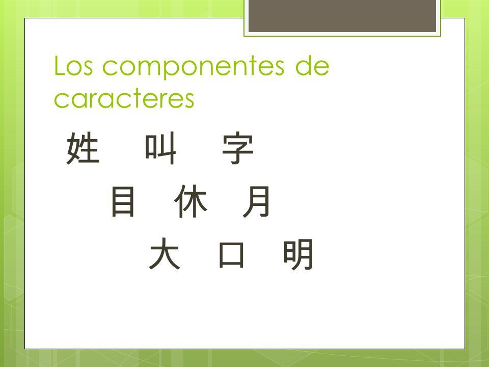 Los componentes de caracteres 姓 叫 字 目 休 月 大 口 明