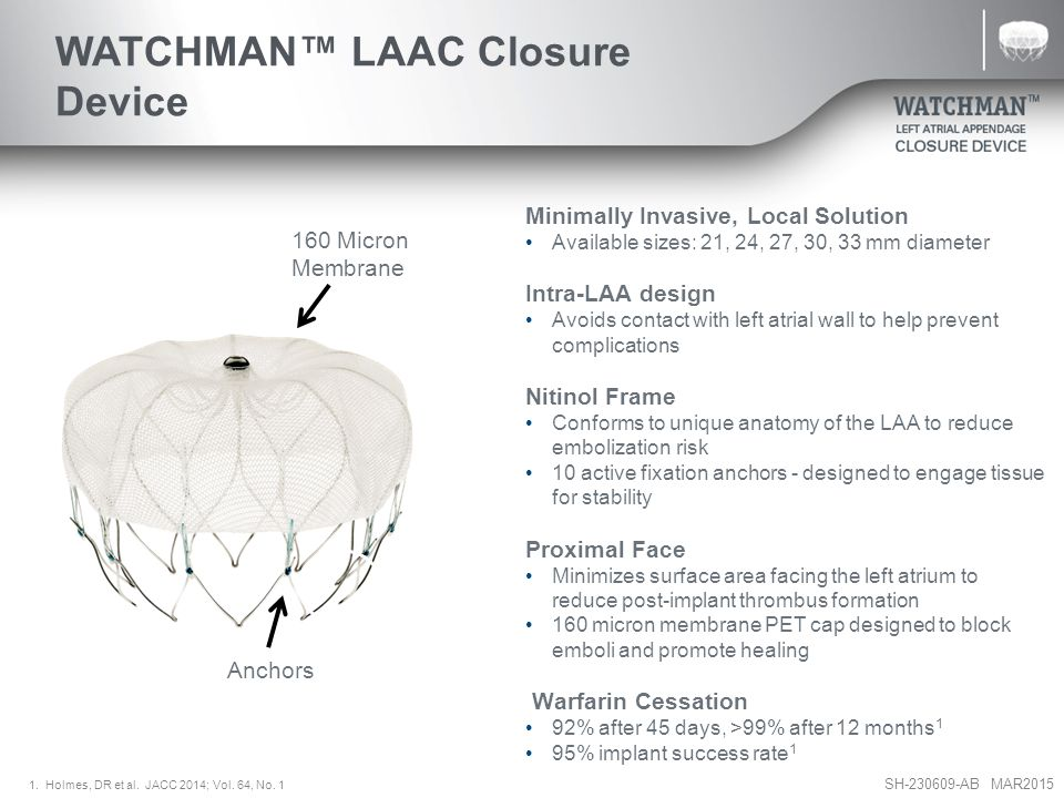 SH-230609-AB MAR2015 Minimally Invasive, Local Solution Available sizes: 21, 24, 27, 30, 33 mm diameter Intra-LAA design Avoids contact with left atrial wall to help prevent complications Nitinol Frame Conforms to unique anatomy of the LAA to reduce embolization risk 10 active fixation anchors - designed to engage tissue for stability Proximal Face Minimizes surface area facing the left atrium to reduce post-implant thrombus formation 160 micron membrane PET cap designed to block emboli and promote healing Warfarin Cessation 92% after 45 days, >99% after 12 months 1 95% implant success rate 1 Anchors 160 Micron Membrane WATCHMAN™ LAAC Closure Device 1.
