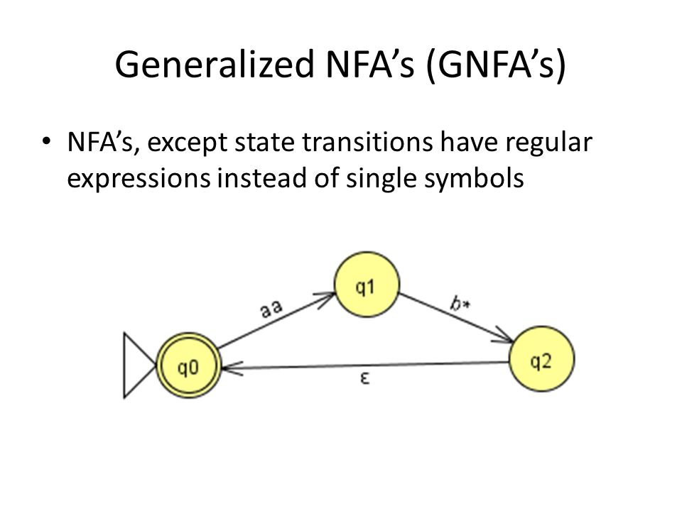 Generalized NFA's (GNFA's) NFA's, except state transitions have regular expressions instead of single symbols