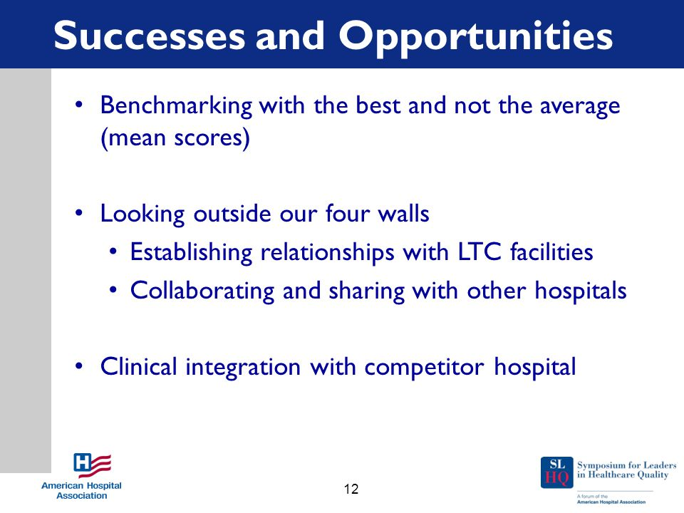 Successes and Opportunities Benchmarking with the best and not the average (mean scores) Looking outside our four walls Establishing relationships with LTC facilities Collaborating and sharing with other hospitals Clinical integration with competitor hospital 12