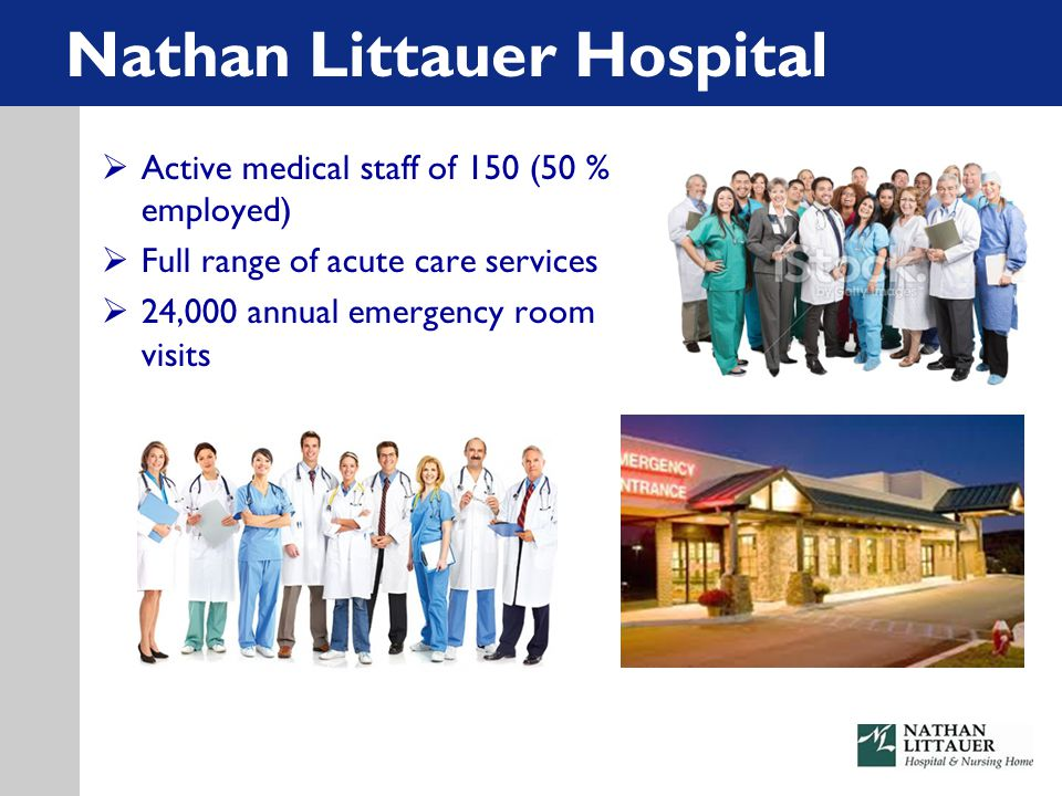  Active medical staff of 150 (50 % employed)  Full range of acute care services  24,000 annual emergency room visits Nathan Littauer Hospital