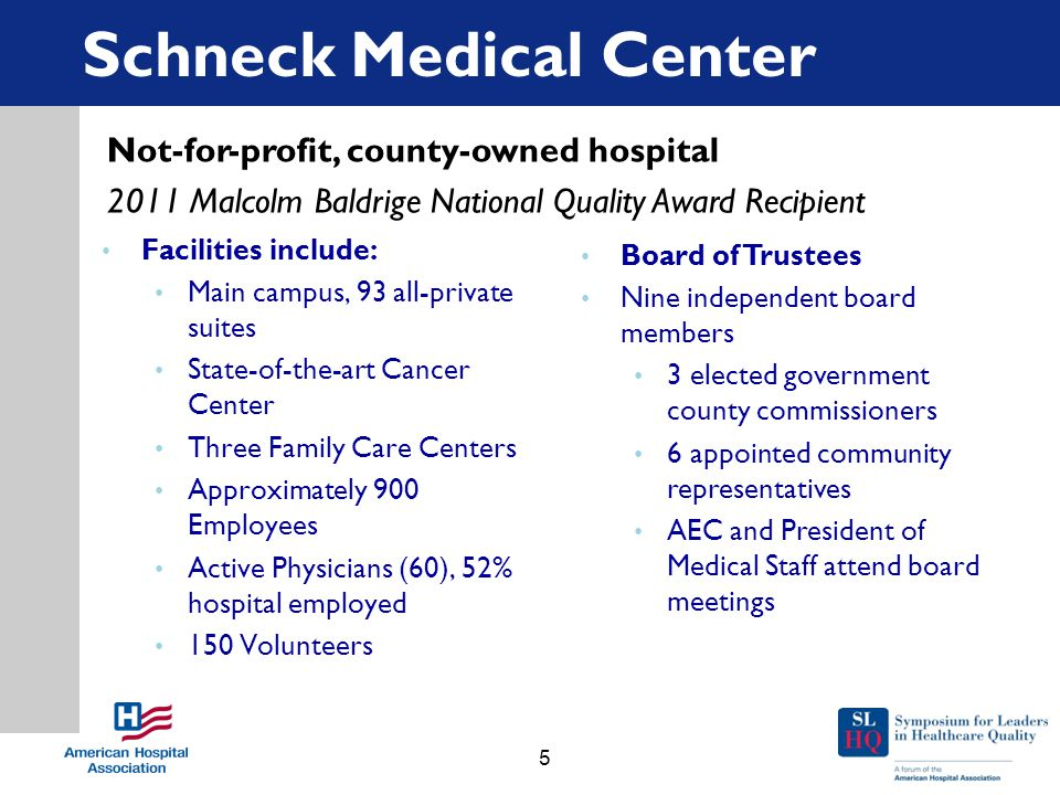 Schneck Medical Center Facilities include: Main campus, 93 all-private suites State-of-the-art Cancer Center Three Family Care Centers Approximately 900 Employees Active Physicians (60), 52% hospital employed 150 Volunteers Board of Trustees Nine independent board members 3 elected government county commissioners 6 appointed community representatives AEC and President of Medical Staff attend board meetings Not-for-profit, county-owned hospital 2011 Malcolm Baldrige National Quality Award Recipient 5