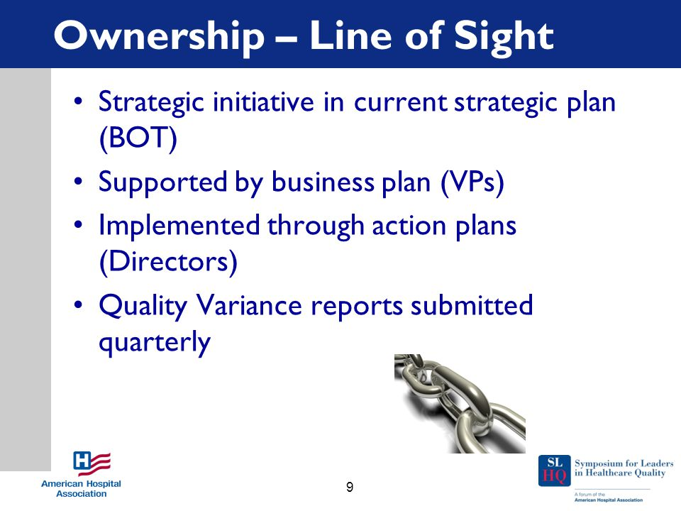 Ownership – Line of Sight Strategic initiative in current strategic plan (BOT) Supported by business plan (VPs) Implemented through action plans (Directors) Quality Variance reports submitted quarterly 9