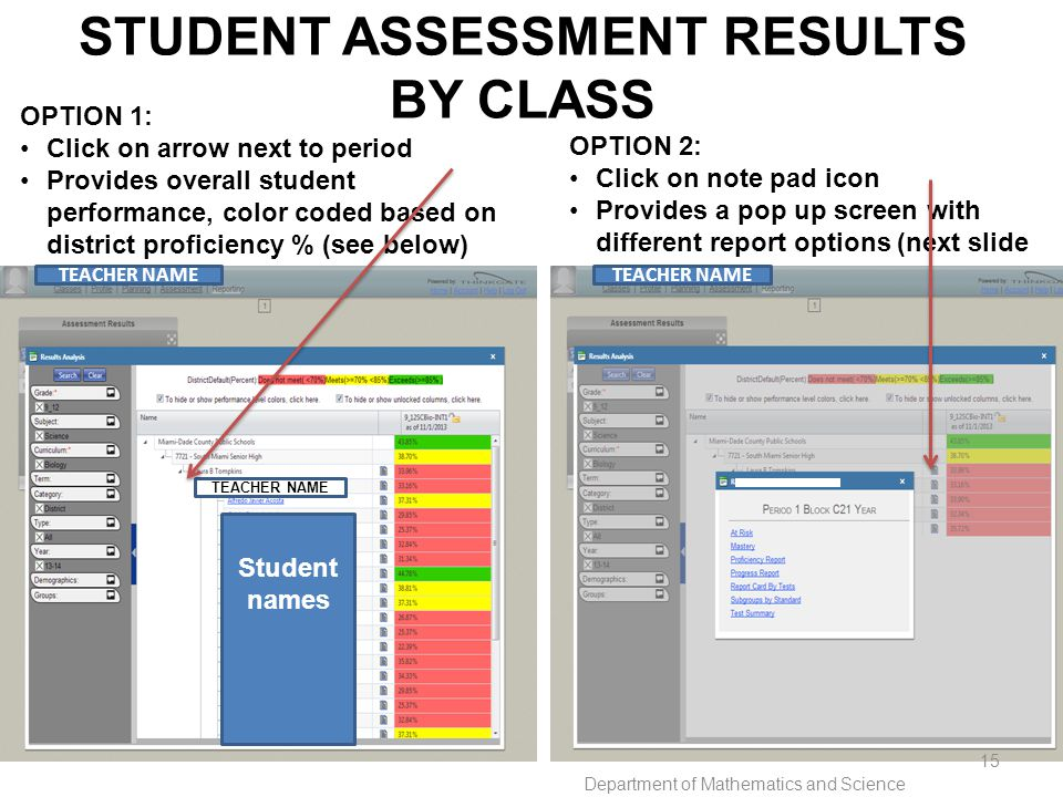 STUDENT ASSESSMENT RESULTS BY CLASS OPTION 1: Click on arrow next to period Provides overall student performance, color coded based on district proficiency % (see below) OPTION 2: Click on note pad icon Provides a pop up screen with different report options (next slide) TEACHER NAME Student names Department of Mathematics and Science 15