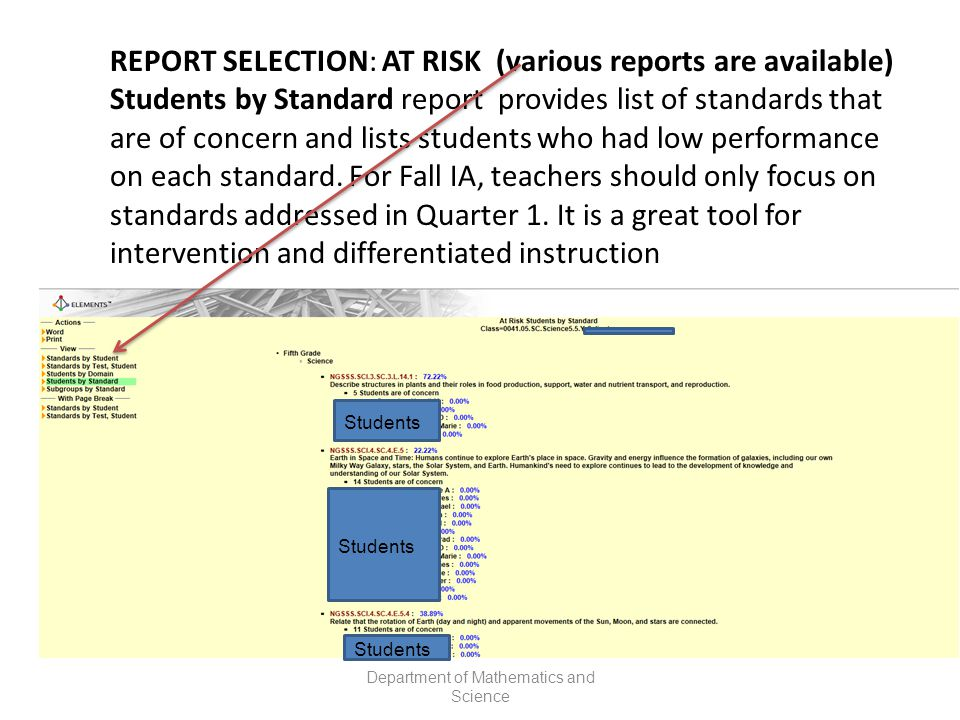 REPORT SELECTION: AT RISK (various reports are available) Students by Standard report provides list of standards that are of concern and lists students who had low performance on each standard.