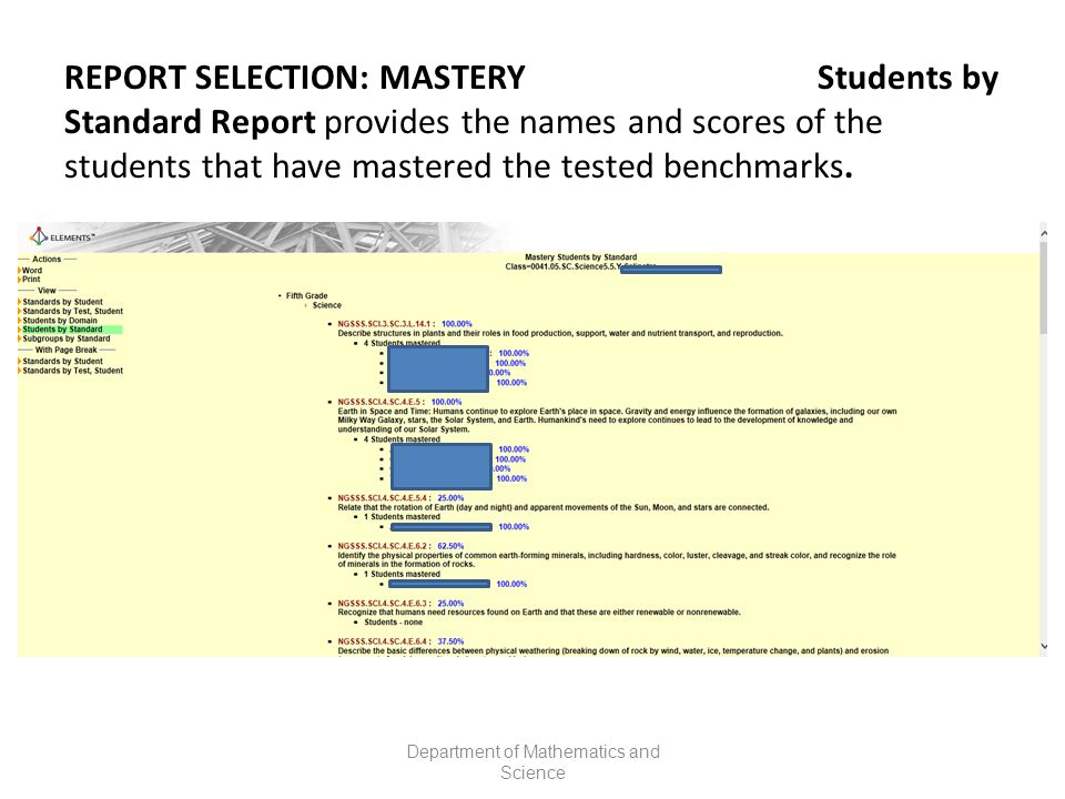 REPORT SELECTION: MASTERY Students by Standard Report provides the names and scores of the students that have mastered the tested benchmarks.