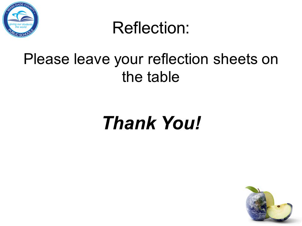 Reflection: Please leave your reflection sheets on the table Thank You!