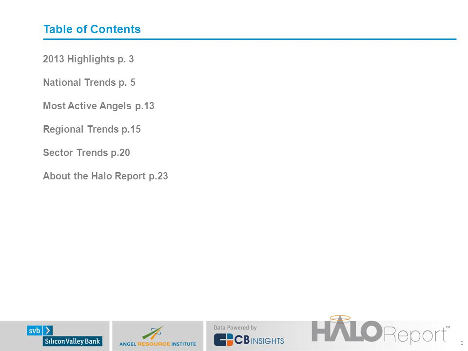 Table of Contents 2013 Highlights p. 3 National Trends p.