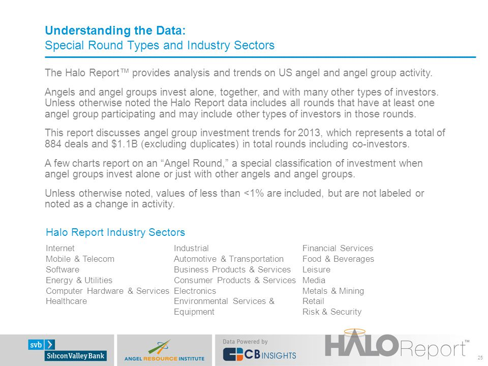 Understanding the Data: Special Round Types and Industry Sectors The Halo Report™ provides analysis and trends on US angel and angel group activity.