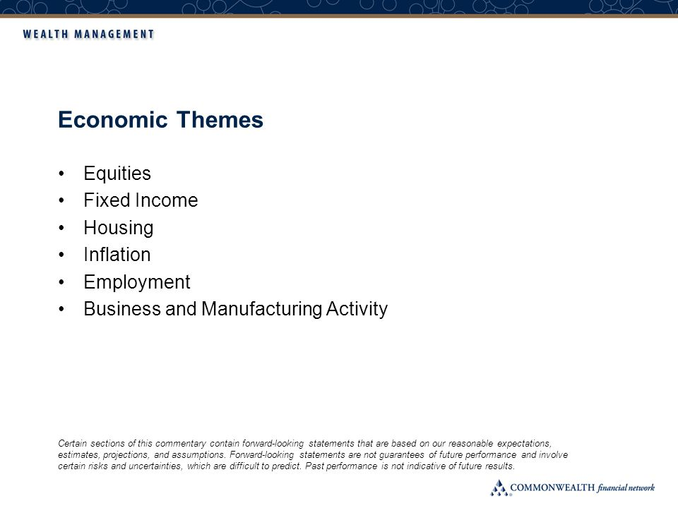 Economic Themes Equities Fixed Income Housing Inflation Employment Business and Manufacturing Activity Certain sections of this commentary contain for