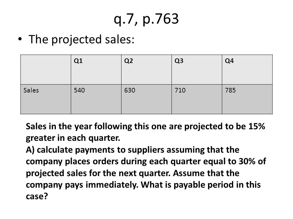 q.7, p.763 The projected sales: Q1Q2Q3Q4 Sales540630710785 Sales in the year following this one are projected to be 15% greater in each quarter. A) ca