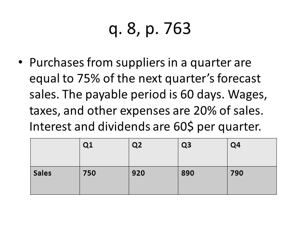 Sales for the first quarter of the following year are projected at $970.