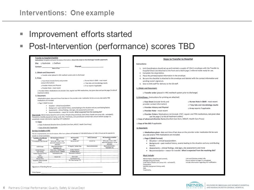 Interventions: One example  Improvement efforts started  Post-Intervention (performance) scores TBD 6 Partners Clinical Performance | Quality, Safety & Value Dept