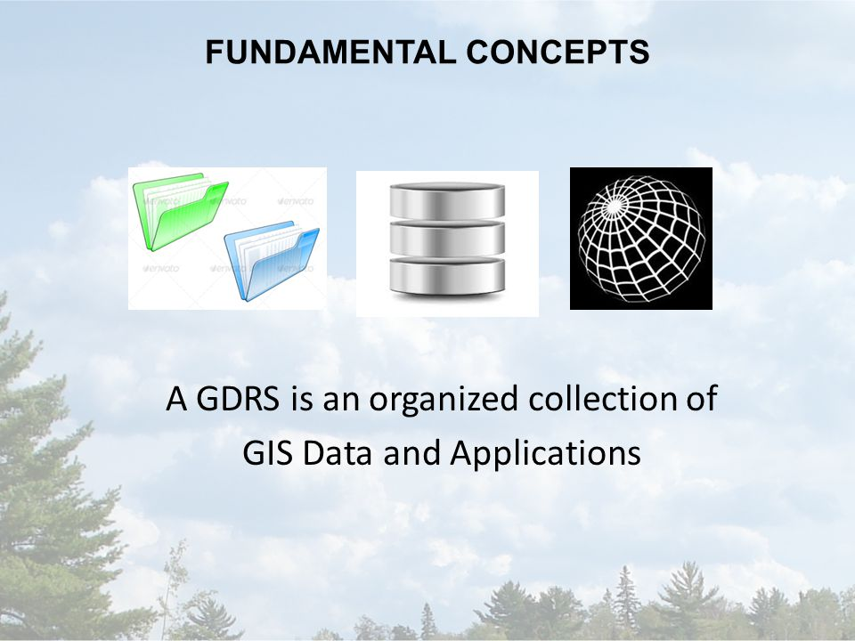 FUNDAMENTAL CONCEPTS A GDRS is an organized collection of GIS Data and Applications