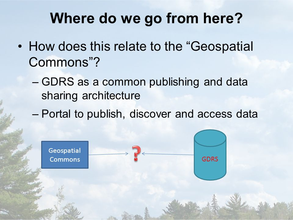 Where do we go from here. How does this relate to the Geospatial Commons .