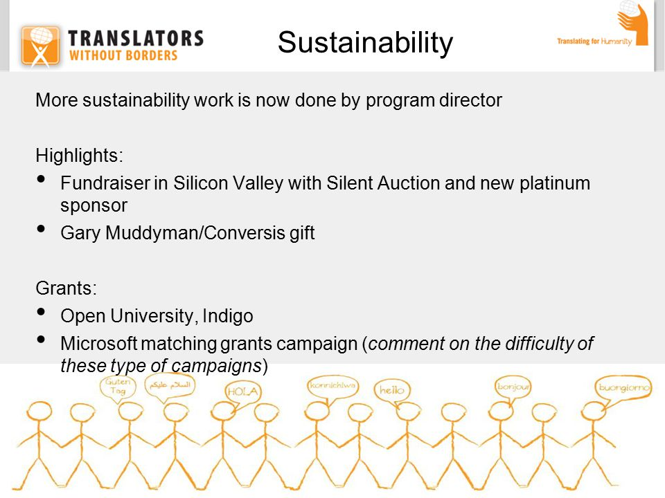 More sustainability work is now done by program director Highlights: Fundraiser in Silicon Valley with Silent Auction and new platinum sponsor Gary Muddyman/Conversis gift Grants: Open University, Indigo Microsoft matching grants campaign (comment on the difficulty of these type of campaigns) Sustainability