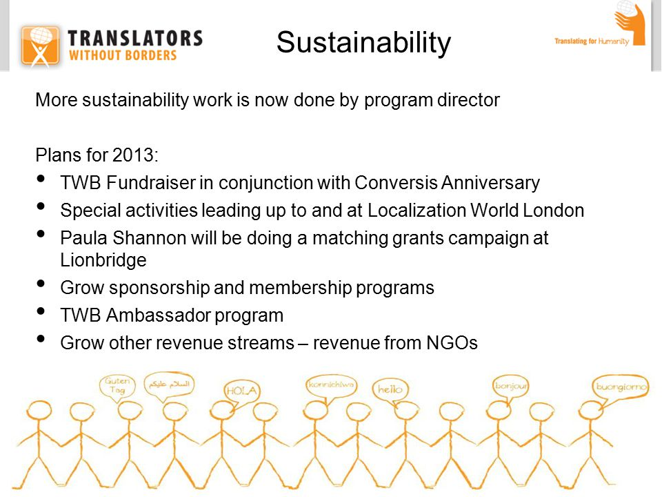 More sustainability work is now done by program director Plans for 2013: TWB Fundraiser in conjunction with Conversis Anniversary Special activities leading up to and at Localization World London Paula Shannon will be doing a matching grants campaign at Lionbridge Grow sponsorship and membership programs TWB Ambassador program Grow other revenue streams – revenue from NGOs Sustainability