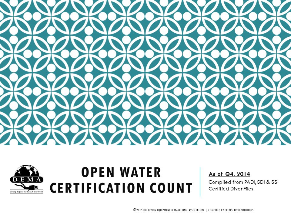 2014 OPEN WATER CERTIFICATION COUNT DEMA, in cooperation with several diver training agencies, compiled the data contained herein.