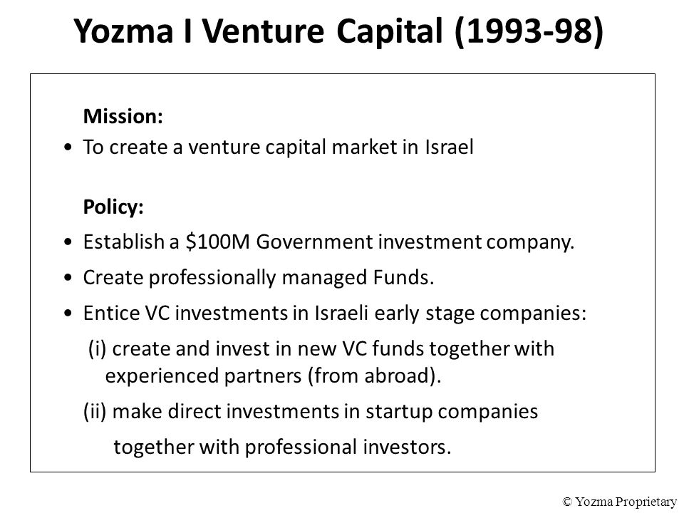 Yozma I Venture Capital (1993-98) Mission: To create a venture capital market in Israel Policy: Establish a $100M Government investment company. Creat