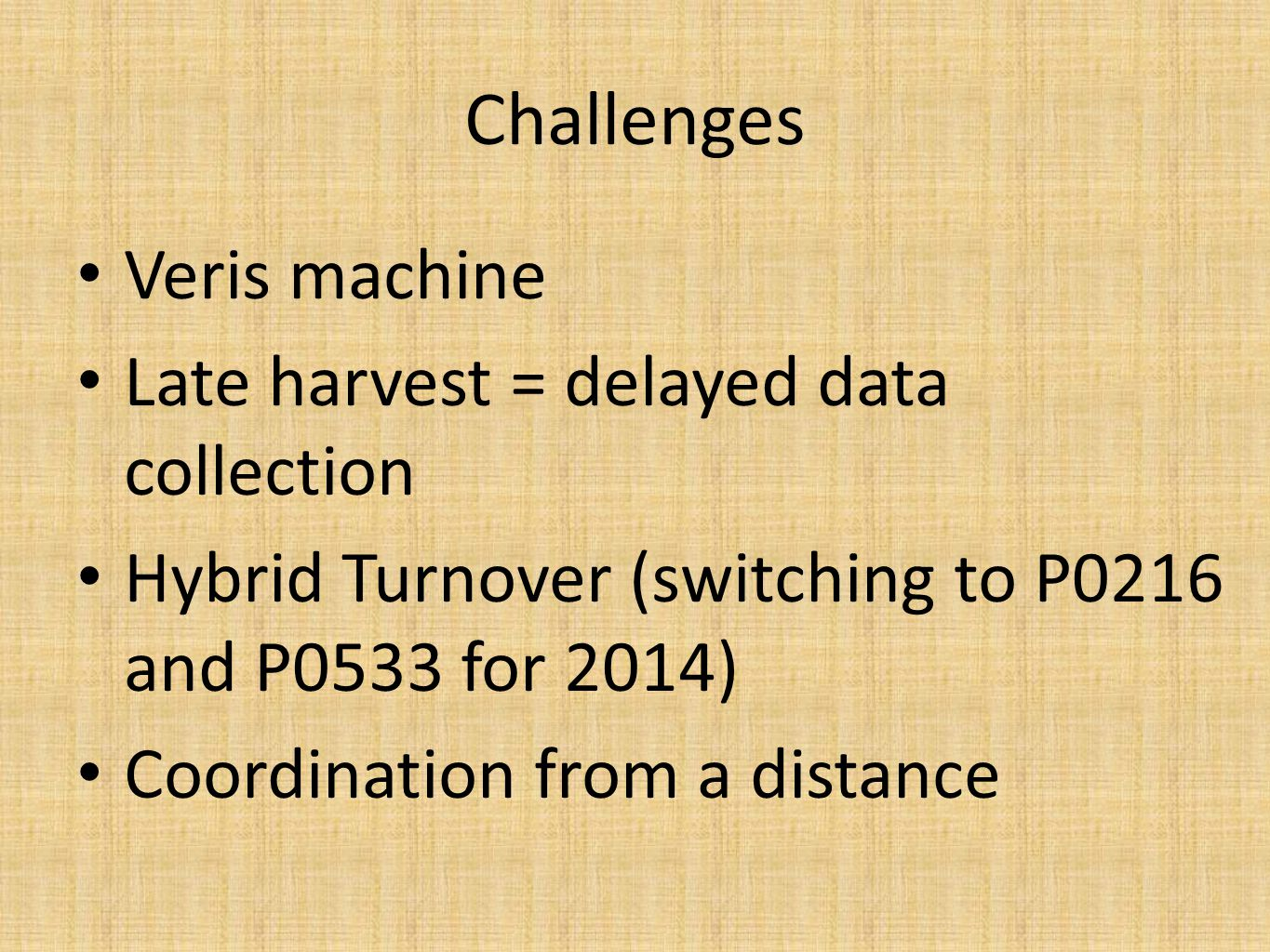 Veris machine Late harvest = delayed data collection Hybrid Turnover (switching to P0216 and P0533 for 2014) Coordination from a distance