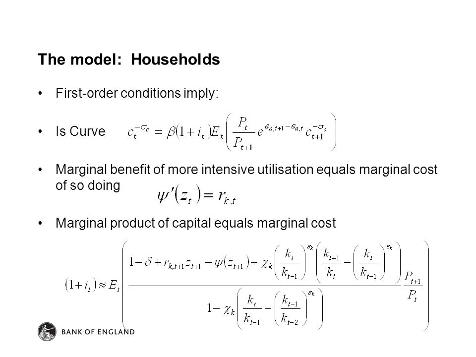 The model: Households First-order conditions imply: Is Curve Marginal benefit of more intensive utilisation equals marginal cost of so doing Marginal product of capital equals marginal cost