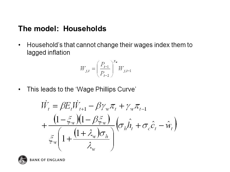 The model: Households Household's that cannot change their wages index them to lagged inflation This leads to the 'Wage Phillips Curve'