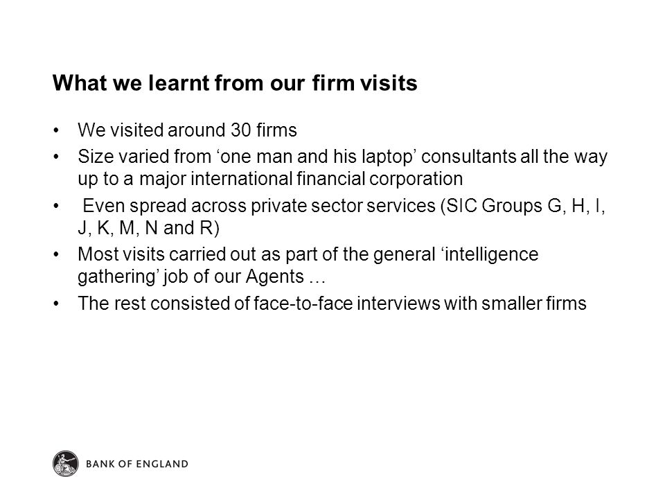 What we learnt from our firm visits We visited around 30 firms Size varied from 'one man and his laptop' consultants all the way up to a major international financial corporation Even spread across private sector services (SIC Groups G, H, I, J, K, M, N and R) Most visits carried out as part of the general 'intelligence gathering' job of our Agents … The rest consisted of face-to-face interviews with smaller firms
